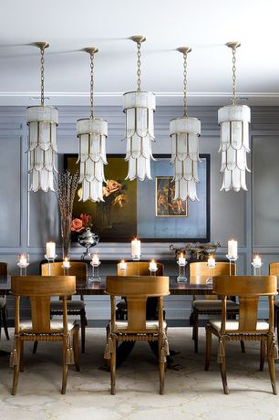 Traditional Dining Room with Pendant light, Italian Chandelier of Tiered Crystal and Gilt Metal, Crown molding, Carpet