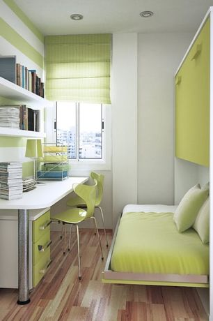 Contemporary Home Office with Pottery Barn Kids Mason Push Button Base, Built-in bookshelf, Bunk beds, Hardwood floors