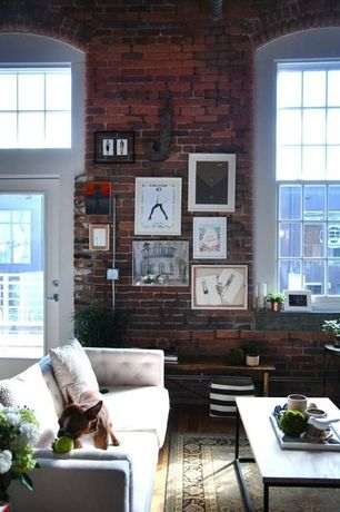 Eclectic Living Room with French doors, Arched window, High ceiling, My cape poster, Hardwood floors, interior brick
