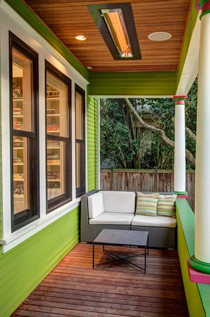 Eclectic Porch with Wrap around porch, Fence