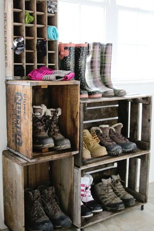 Rustic Mud Room with Standard height, double-hung window, Crates and Pallet Large Wood Crate, Paint, Built-in bookshelf