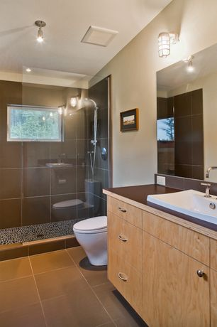3/4 Bathroom with Soapstone counters, European Cabinets, flush light, Barnlight electric topless wire guard sconce, Flush