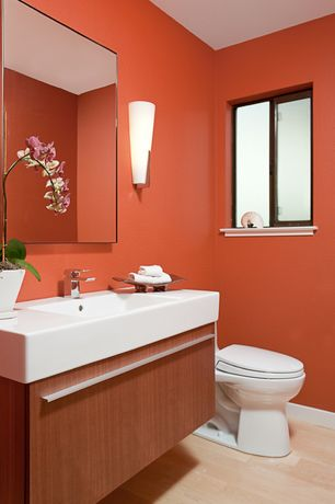 Contemporary 3/4 Bathroom with Wall sconce, Tech Lighting Larkspur Mini 1 Light Wall Sconce, Flush, Undermount sink