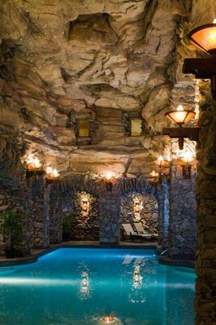 Rustic Swimming Pool with Indoor pool, exterior stone floors