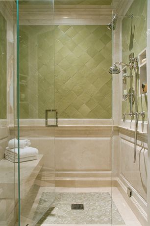 Traditional Master Bathroom with Daltile Carrara White 1 x Random Mosaic, MS International Crema Marfil Select Marble