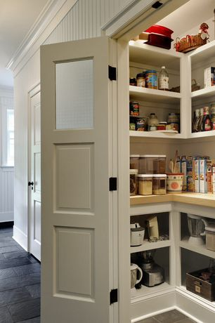Cottage Pantry with Glass panel door, Beadboard walls, specialty door, Walk-in pantry, Crown molding, Built-in bookshelf
