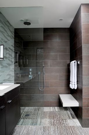 Contemporary Master Bathroom with Daltile - Veranda Bamboo Forest 20 in. x 20 in. Porcelain Floor and Wall Tile, Rain shower
