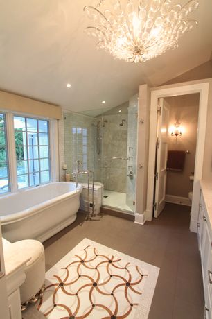 Traditional Master Bathroom with MS International Lymra Limestone