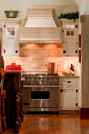 Country Kitchen with Travertine Backsplash - Subway Tile