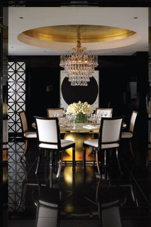 Contemporary Dining Room with simple marble tile floors, Chandelier