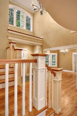 Traditional Entryway with Columns, Chandelier, Casement, Cathedral ceiling, Glass panel door, Hardwood floors, Arched window