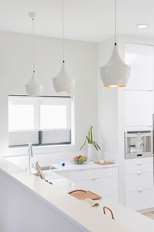 "Modern Kitchen with Limestone counters, Hardwood floors, Pendant light, L-shaped, 1"" Tab Pull, High ceiling, Flush, Limestone"