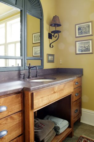 Craftsman Master Bathroom with Undermount sink, Powder room, Flat panel cabinets, Soapstone counters, Soapstone, Flush