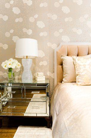 Art Deco Master Bedroom with interior wallpaper, Hardwood floors