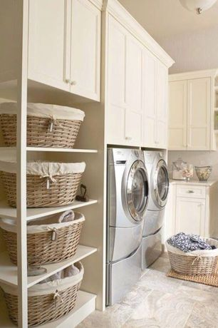 Traditional Laundry Room with flush light, Standard height, laundry sink, Farmhouse sink, Built-in bookshelf