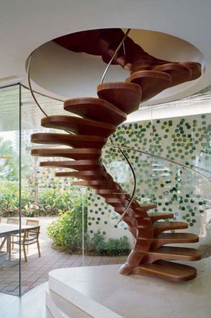 Contemporary Staircase with High ceiling, Spiral staircase, Hardwood floors, interior wallpaper