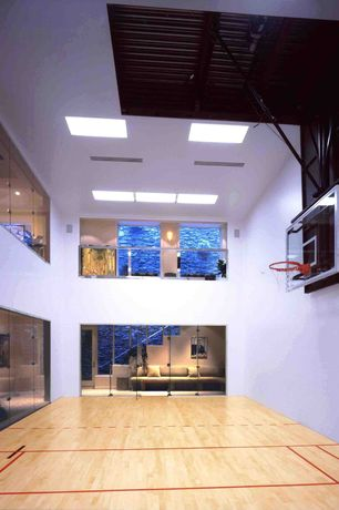 "Contemporary Game Room with Paint 1, Spalding 44"" polycarbonate backboard and slam jam rim combo, French doors, High ceiling"
