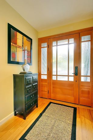 Eclectic Entryway with Paint 2, Glass panel door, Hardwood floors, FIBREWORKS CUSTOM COLOR-BOUND SEAGRASS RUG, Paint 1