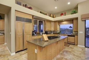 Country Kitchen with Simple granite counters, Simple Granite, Galley, Glass panel door, Raised panel, Kitchen island, Flush