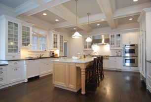 Traditional Kitchen with Wall Hood, Home styles nantucket bar stool, Bamboo floors, Paint, Box ceiling, can lights, flat door
