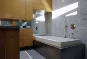 Contemporary Full Bathroom with Pendant light, Master bathroom, European Cabinets, Stainless steel counters, Flush