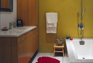Contemporary Full Bathroom with Undermount sink, Aran cucine mia cabinets, Hakatai glass mosaic tile d-94 s mustard, Flush