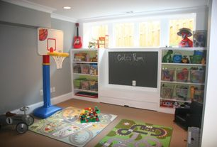 Traditional Playroom with Fun rugs fun time fun city kids rug, Paint 1, Carpet, Built-in bookshelf