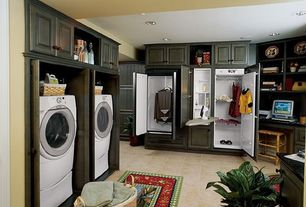 Traditional Laundry Room with Hanging Bar, Drop-in sink, Paint, Standard height, Maytag - drying cabinet, can lights