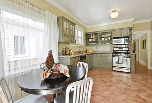 Country Kitchen with Crown molding, Undermount sink, High ceiling, Breakfast nook, L-shaped, Flat panel cabinets, flush light