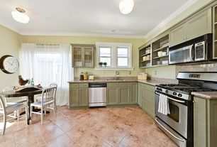 """Country Kitchen with flush light, School house electric - northwestern 6"""" surface mount, can lights, L-shaped, High ceiling"""