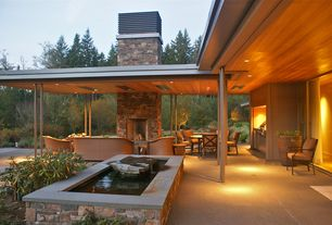 Contemporary Patio with Ceiling panels, Outdoor fireplace, Outdoor furniture