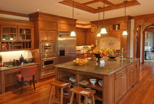 Contemporary Kitchen with Raised panel, Kitchen island, L-shaped, Built-in bookshelf, Breakfast bar, Simple Granite