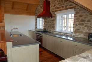 Country Kitchen with High ceiling, Specialty Tile, Breakfast bar, Undermount sink, Kitchen island, L-shaped, Wood counters