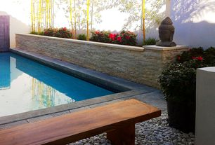 Asian Swimming Pool with Stacked stone wall