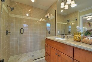 Craftsman 3/4 Bathroom with Flat panel cabinets, wall-mounted above mirror bathroom light, partial backsplash, can lights