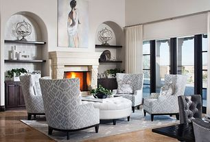 Contemporary Living Room with Cement fireplace, Built-in bookshelf, Fairfield Chair Transitional Tight Wingback Chair