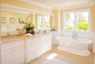 Cottage Master Bathroom with Double sink, Freestanding, Inset cabinets, Wainscotting, Flat panel cabinets, Crown molding