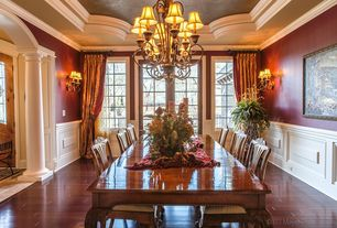 Traditional Dining Room with Chandelier candle shades, Wainscotting, Strand woven mahogany, click lock bamboo flooring