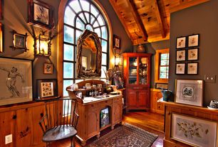Country Master Bathroom with Steve silver wyndham buffet and hutch, Distressed tobaccowood reclaimed wood flooring
