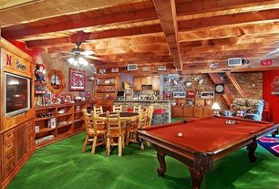 Rustic Game Room with Paint 1, Paint 2, Interior stone wall, Exposed beam, Carpet floor