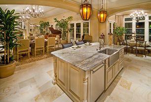 "Mediterranean Great Room with Vigo 33"" x 22.25"" single bowl 16 gauge farmhouse kitchen sink"