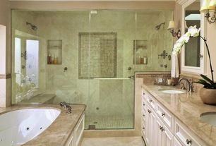 Traditional Master Bathroom with Paint, Master bathroom, Framed Partial Panel, Shower, Simple Marble, Simple marble counters
