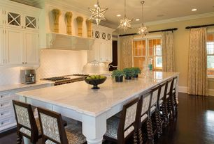 Traditional Kitchen with Framed Partial Panel, Paint 1, One-wall, Undermount sink, full backsplash, Custom hood, Casement