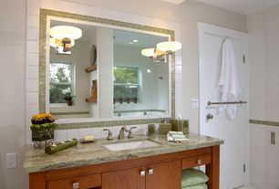 Contemporary Full Bathroom with Stone Tile, Complex marble counters, European Cabinets, Inset cabinets, 4x4 Matte White Tile