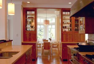 Craftsman Kitchen with gas range, Pendant light, Simple marble counters, Urbia - naturals old wood arm chair, Multiple Sinks