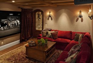 Traditional Home Theater with can lights, Exposed beam, Standard height, French doors, Wall sconce, Hardwood floors