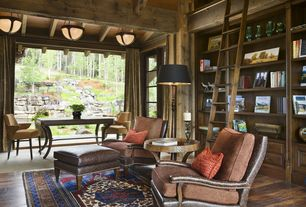 Rustic Living Room with picture window, Exposed beam, High ceiling, flush light, Built-in bookshelf, Hardwood floors