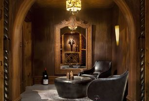 Rustic Wine Cellar with Carpet, Hanging pendant light, Speckled cowhide rug, Wall sconce, Standard height, Mia club chair