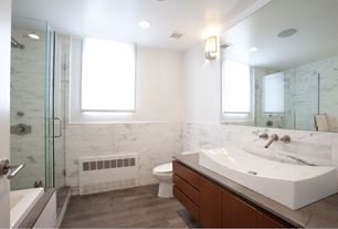 Contemporary Full Bathroom with Kitchen Craft, Lockhart Cabinet Door Style, Rain shower, flush light, Stone Tile, Wall sconce