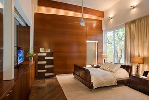 Contemporary Master Bedroom with Wall sconce, High ceiling, Exposed beam, Hardwood floors, Stacked Gem Lamp, Ceiling fan